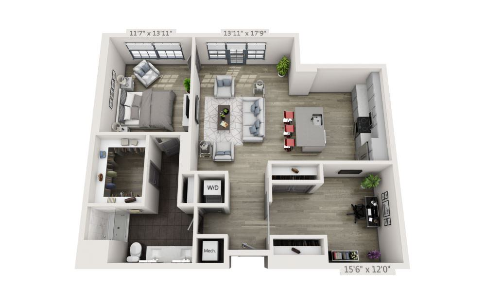 1A - 1 bedroom floorplan layout with 1 bath and 1146 square feet.