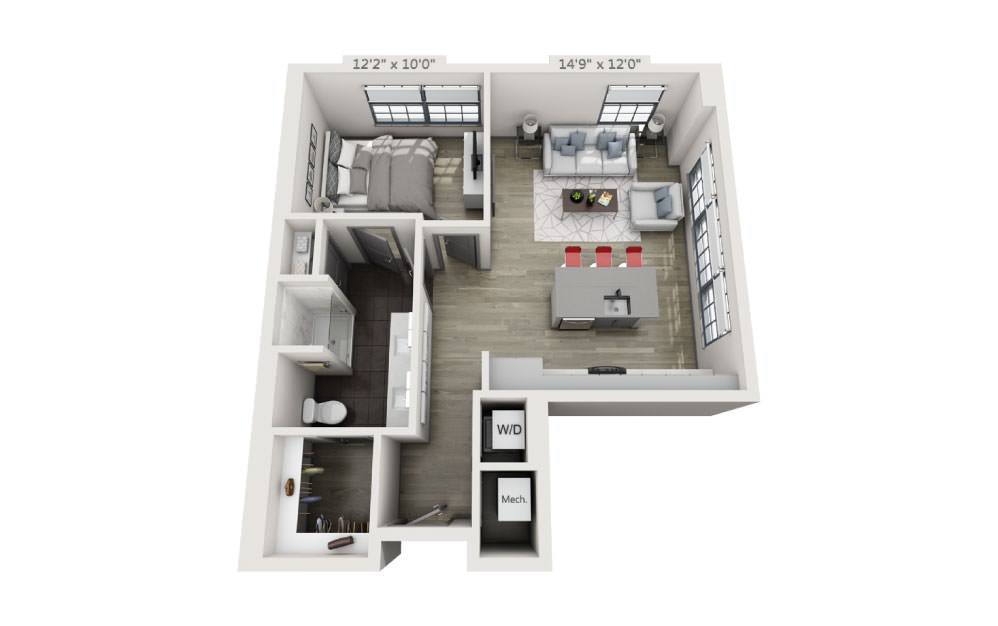 1B - 1 bedroom floorplan layout with 1 bath and 761 square feet.
