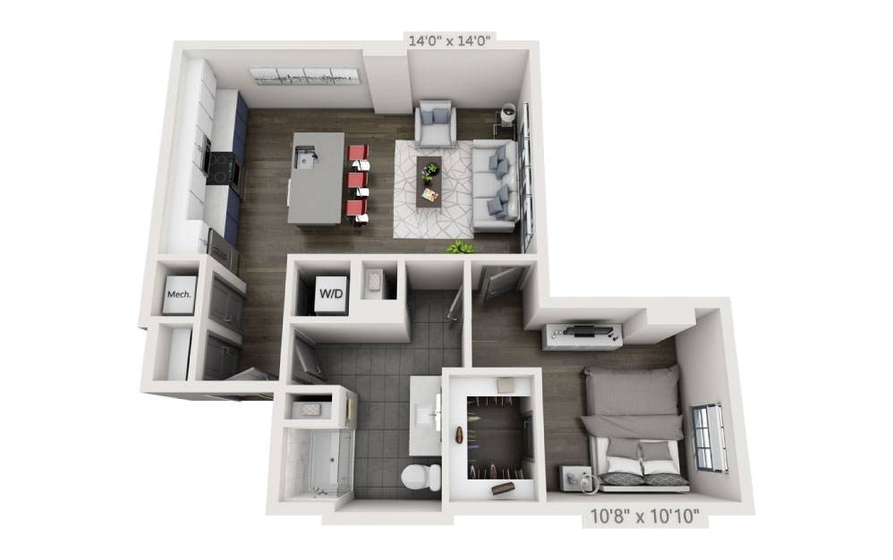 1C - 1 bedroom floorplan layout with 1 bath and 765 square feet.