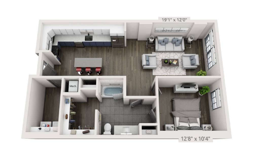 1D-A - 1 bedroom floorplan layout with 1 bath and 928 square feet.