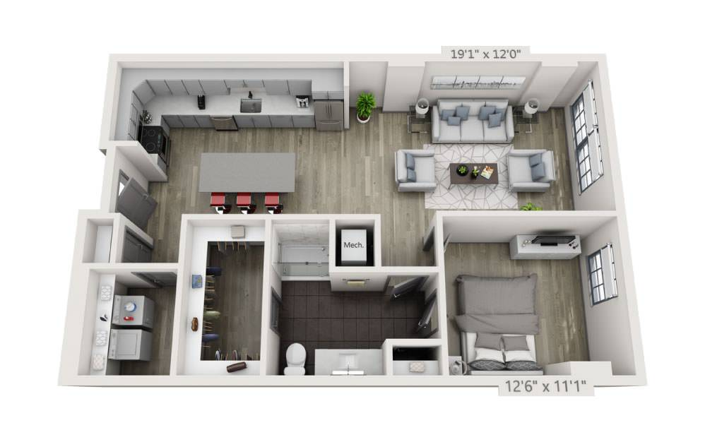 1D-B - 1 bedroom floorplan layout with 1 bath and 928 square feet.