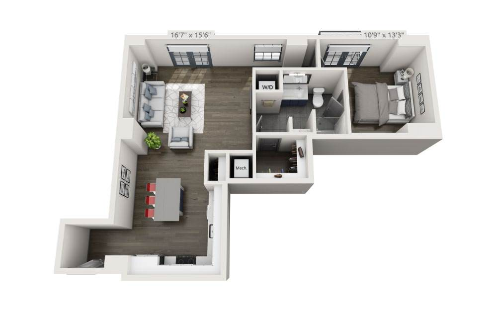 1E - 1 bedroom floorplan layout with 1 bath and 834 square feet.