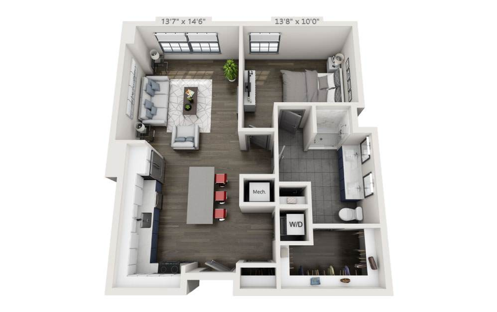 1F - 1 bedroom floorplan layout with 1 bath and 875 square feet.