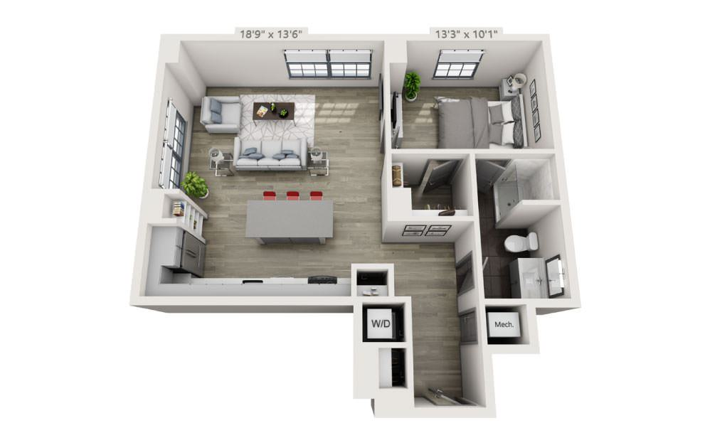 1G - 1 bedroom floorplan layout with 1 bath and 836 square feet.