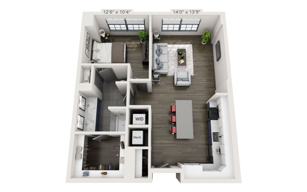 1H - 1 bedroom floorplan layout with 1 bath and 855 square feet.
