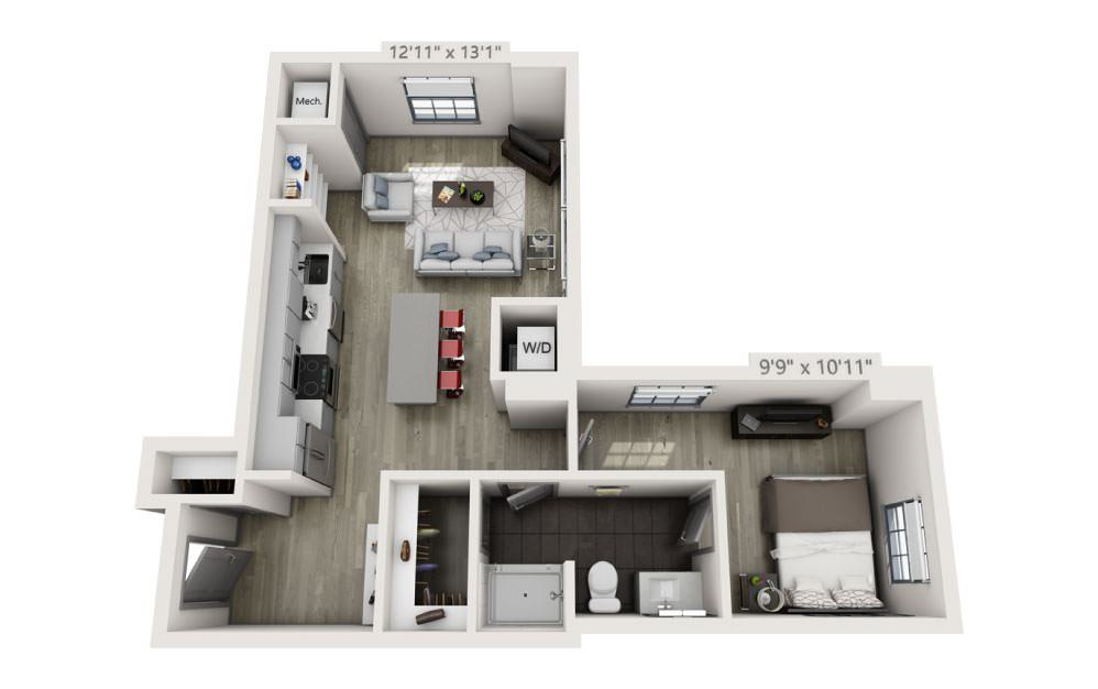 1I - 1 bedroom floorplan layout with 1 bath and 685 square feet.