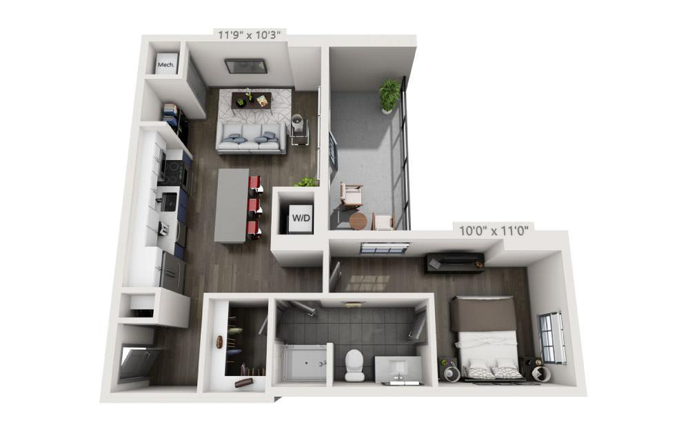 1I with Terrace - 1 bedroom floorplan layout with 1 bath and 700 square feet.