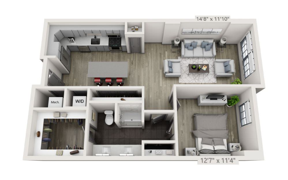 1J - 1 bedroom floorplan layout with 1 bath and 884 square feet.