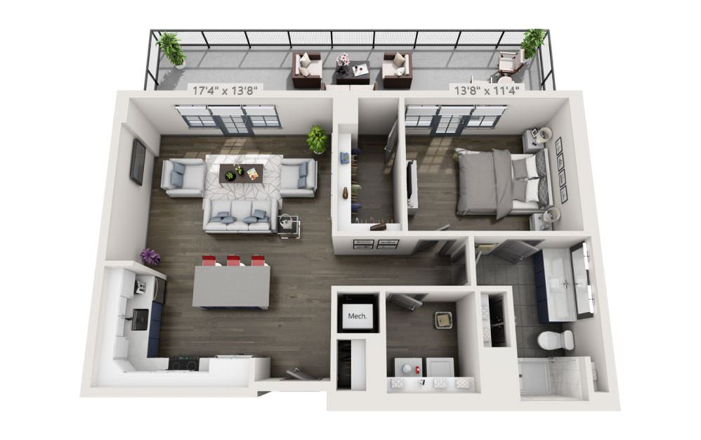 1K with Terrace - 1 bedroom floorplan layout with 1 bath and 960 square feet.