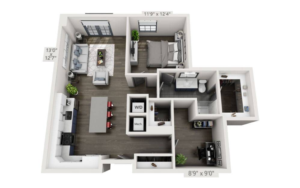1L - 1 bedroom floorplan layout with 1 bath and 926 square feet.