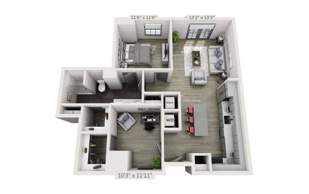 1M - 1 bedroom floorplan layout with 1 bath and 975 square feet.