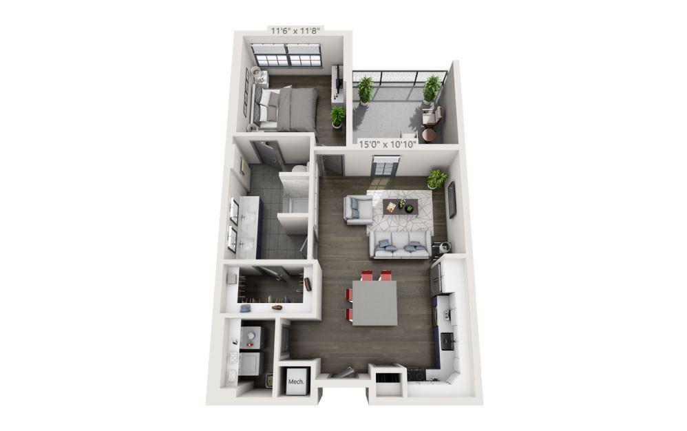 1N - 1 bedroom floorplan layout with 1 bath and 753 square feet.