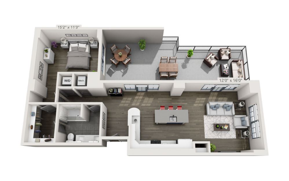 1O - 1 bedroom floorplan layout with 1 bath and 1125 square feet.