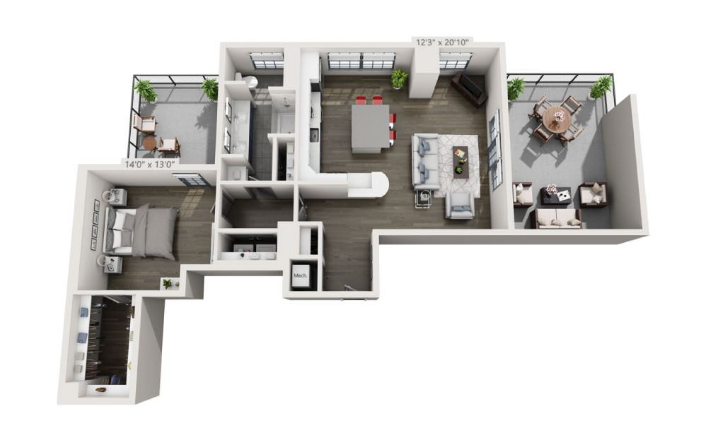 1P - 1 bedroom floorplan layout with 1 bath and 1009 square feet.