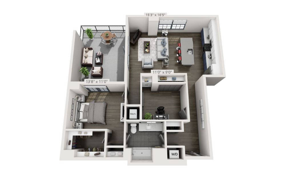 1Q - 1 bedroom floorplan layout with 1 bath and 1138 square feet.