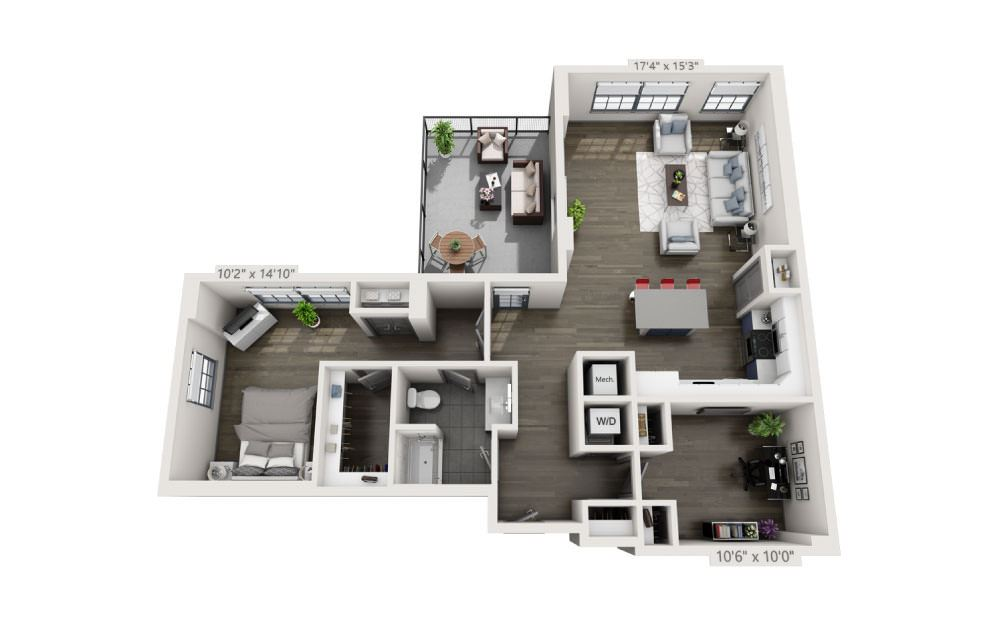 1S - 1 bedroom floorplan layout with 1 bath and 1188 square feet.