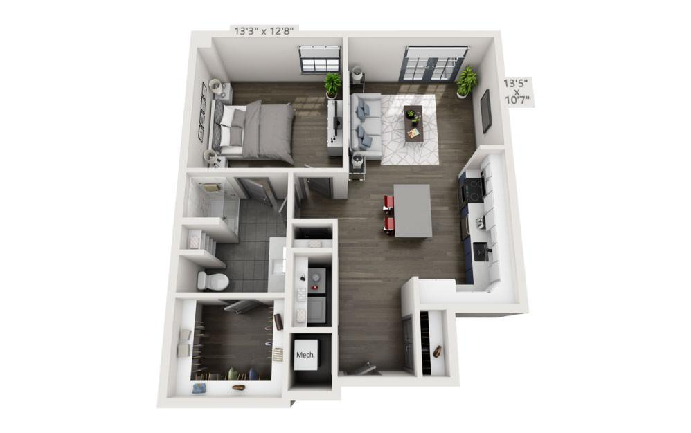 1V - 1 bedroom floorplan layout with 1 bath and 819 square feet.