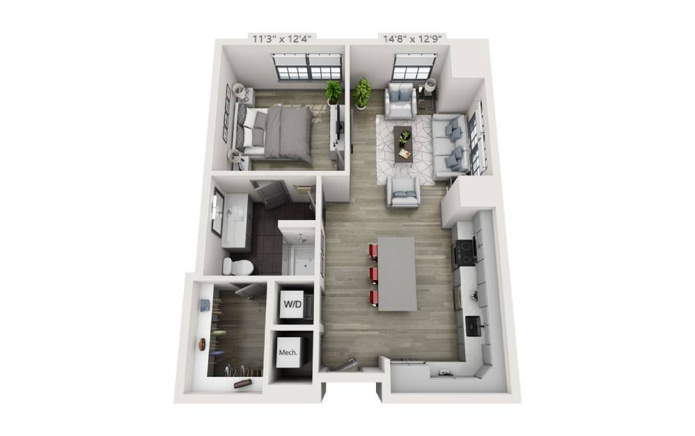 1W - 1 bedroom floorplan layout with 1 bath and 841 square feet.