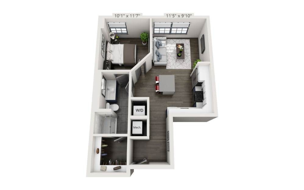 1X - 1 bedroom floorplan layout with 1 bath and 604 square feet.