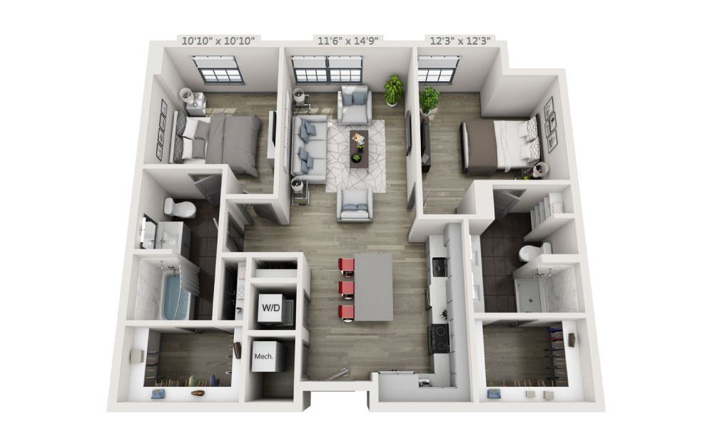 2A - 2 bedroom floorplan layout with 2 baths and 1092 square feet.