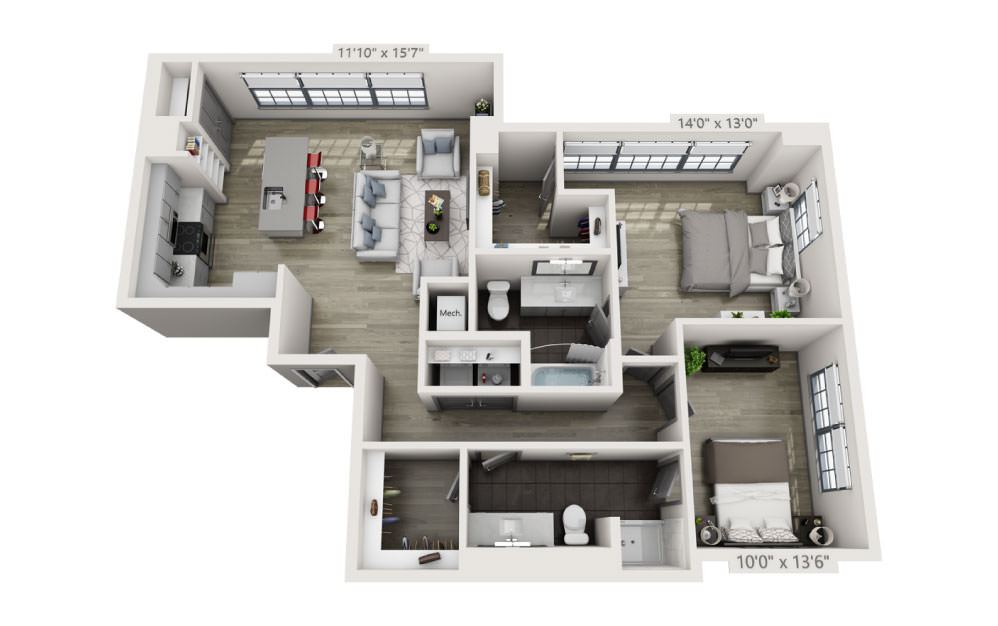 2B - 2 bedroom floorplan layout with 2 baths and 1212 square feet.