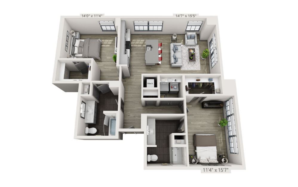 2C - 2 bedroom floorplan layout with 2 baths and 1328 square feet.