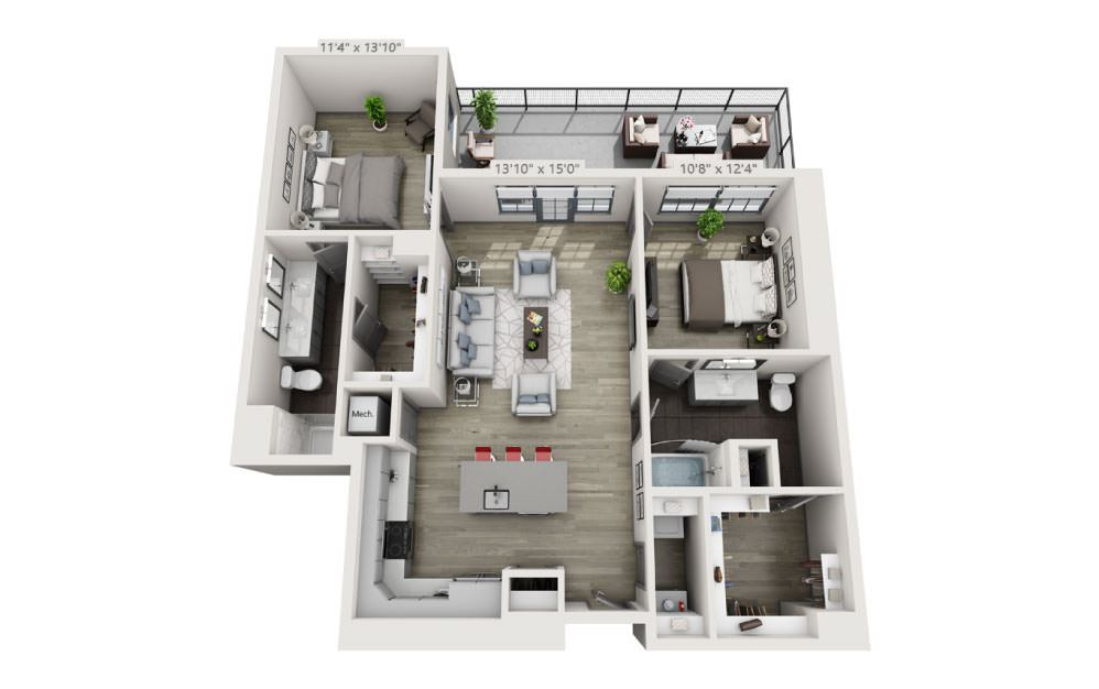 2D - 2 bedroom floorplan layout with 2 baths and 1230 square feet.