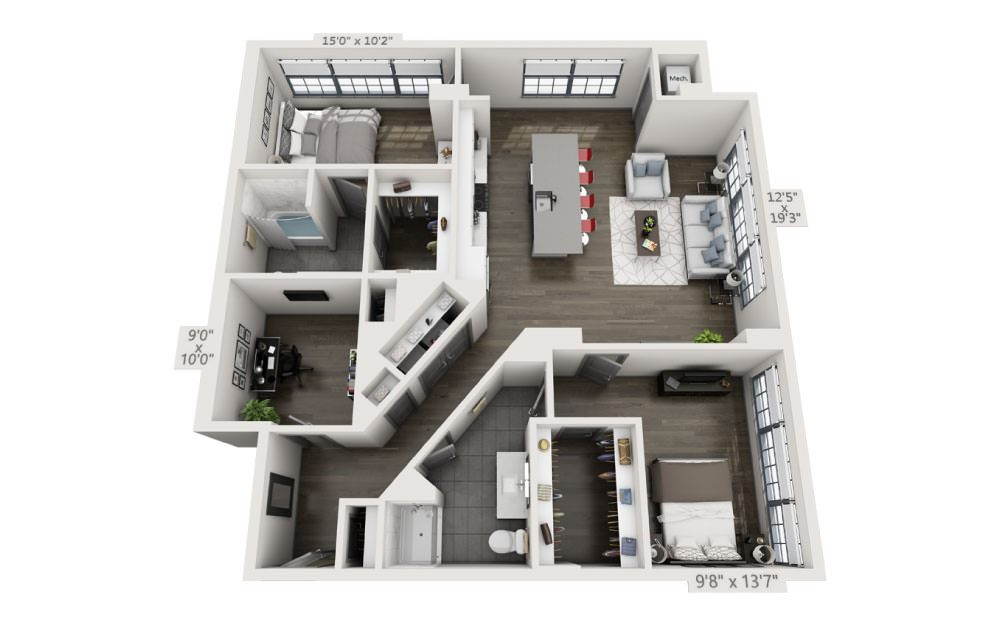 2E - 2 bedroom floorplan layout with 2 baths and 1432 square feet.