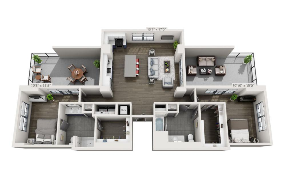 2F - 2 bedroom floorplan layout with 2 baths and 1495 square feet.