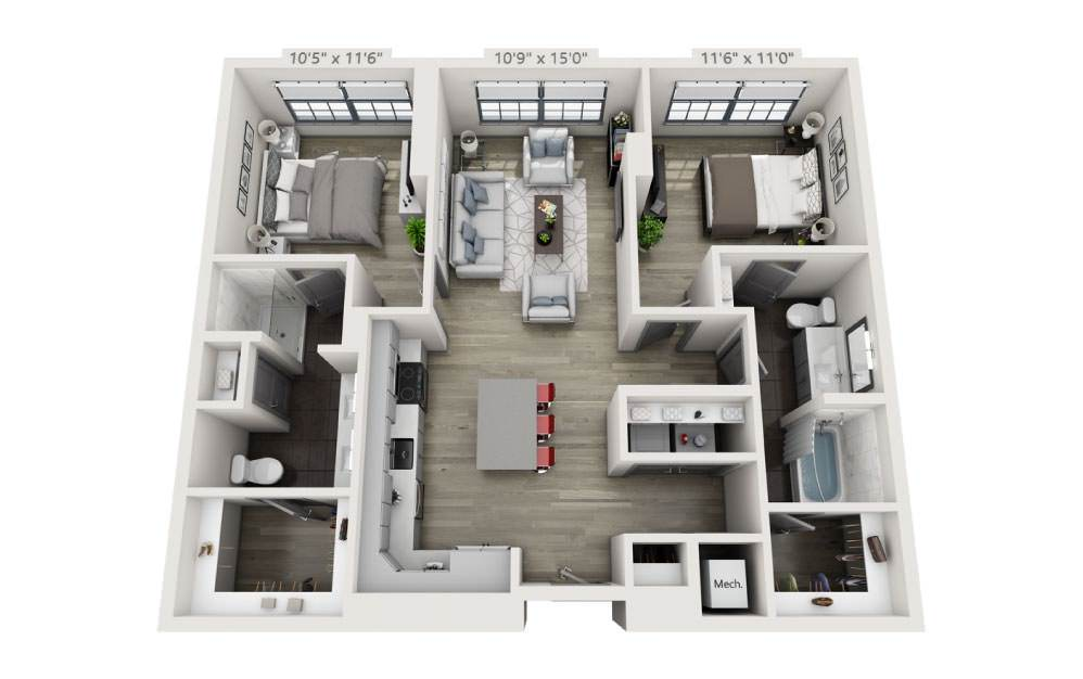 2G - 2 bedroom floorplan layout with 2 baths and 1118 square feet.
