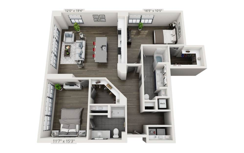 2H - 2 bedroom floorplan layout with 2 baths and 1392 square feet.