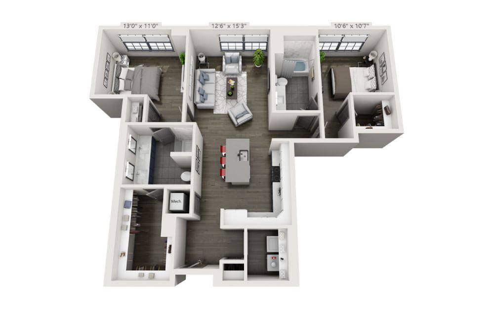 2I - 2 bedroom floorplan layout with 2 baths and 1241 square feet.