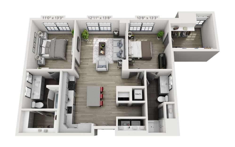 2J - 2 bedroom floorplan layout with 2 baths and 1035 square feet.