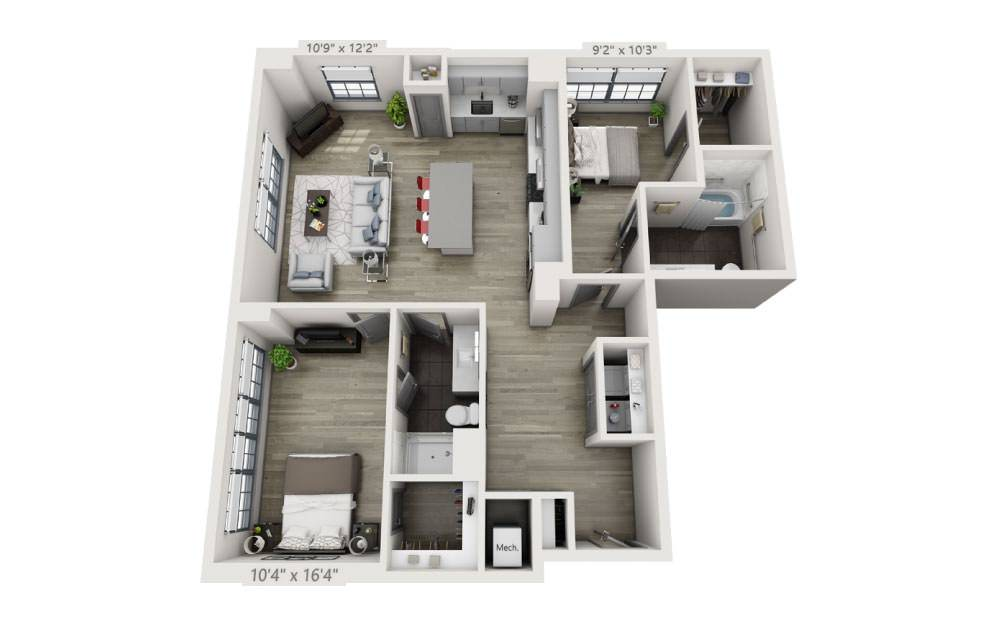 2K-A - 2 bedroom floorplan layout with 2 baths and 1273 square feet.
