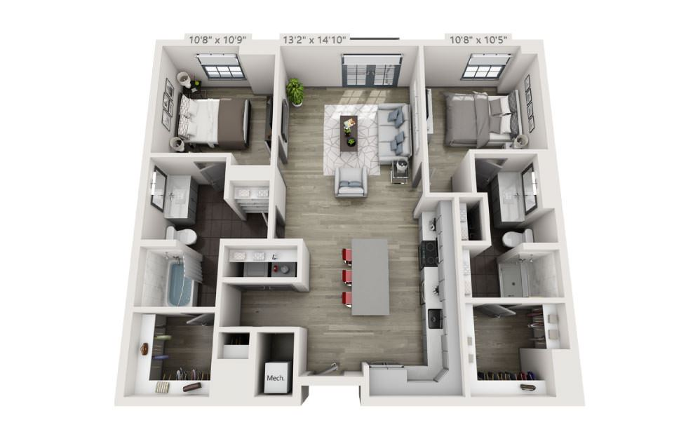 2N - 2 bedroom floorplan layout with 2 baths and 1095 square feet.