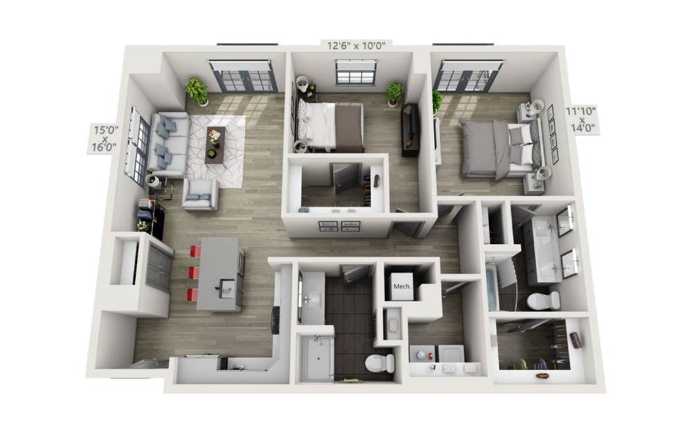 2O - 2 bedroom floorplan layout with 2 baths and 1201 square feet.
