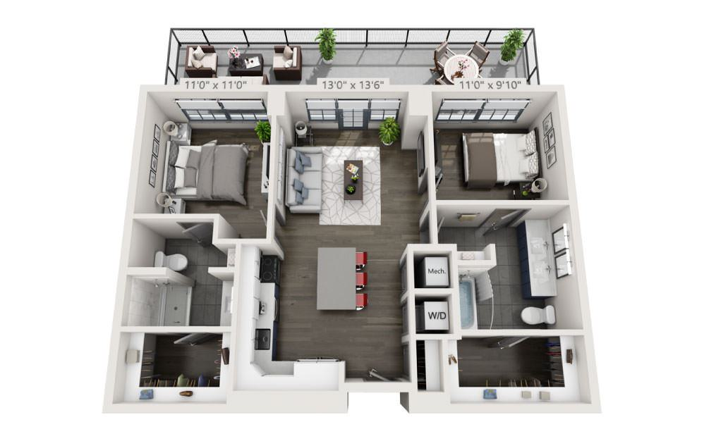 2P with Terrace - 2 bedroom floorplan layout with 2 baths and 965 square feet.