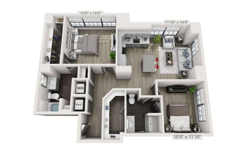 2Q - 2 bedroom floorplan layout with 2 baths and 1123 square feet.