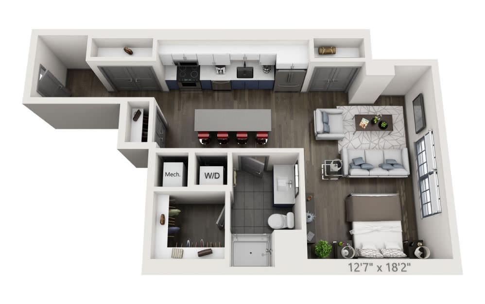 SA - Studio floorplan layout with 1 bath and 691 square feet.