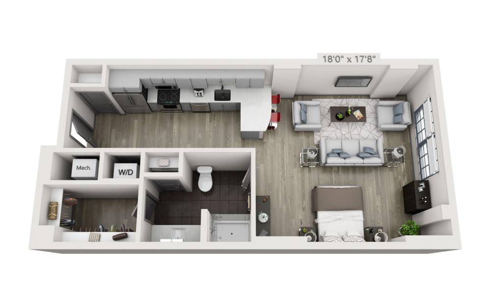 SB - Studio floorplan layout with 1 bath and 703 square feet.