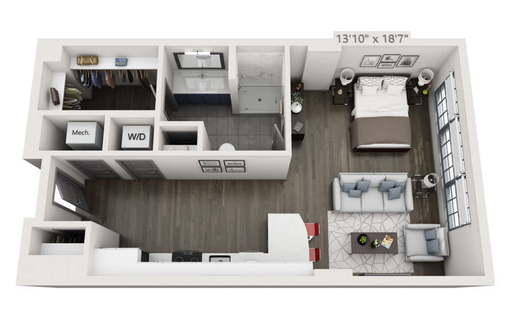 SC - Studio floorplan layout with 1 bath and 658 square feet.