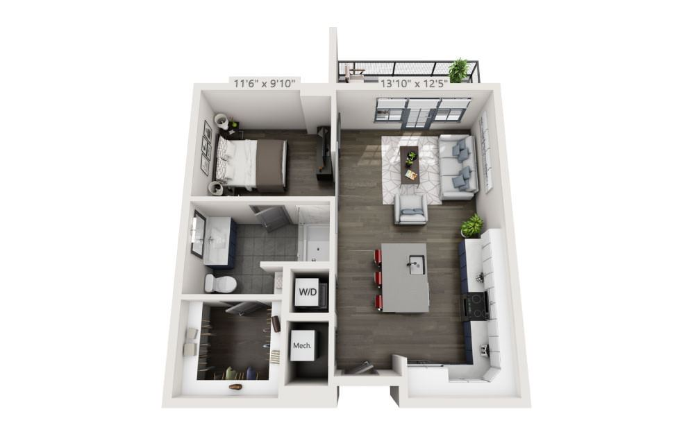 SD with Terrace - Studio floorplan layout with 1 bath and 684 square feet.