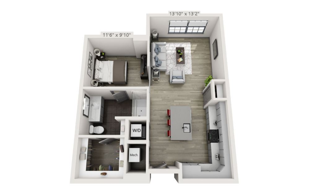 SD - Studio floorplan layout with 1 bath and 745 square feet.