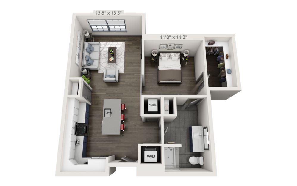 SE - Studio floorplan layout with 1 bath and 807 square feet.