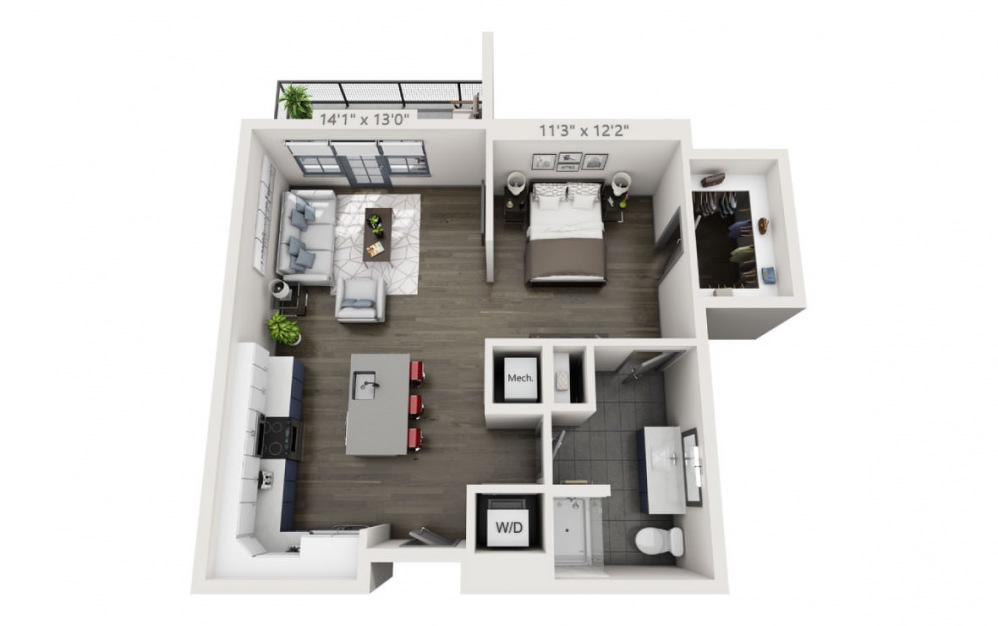 SE with Terrace - Studio floorplan layout with 1 bath and 748 square feet.