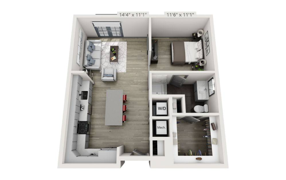 SF with Terrace - Studio floorplan layout with 1 bath and 717 square feet.