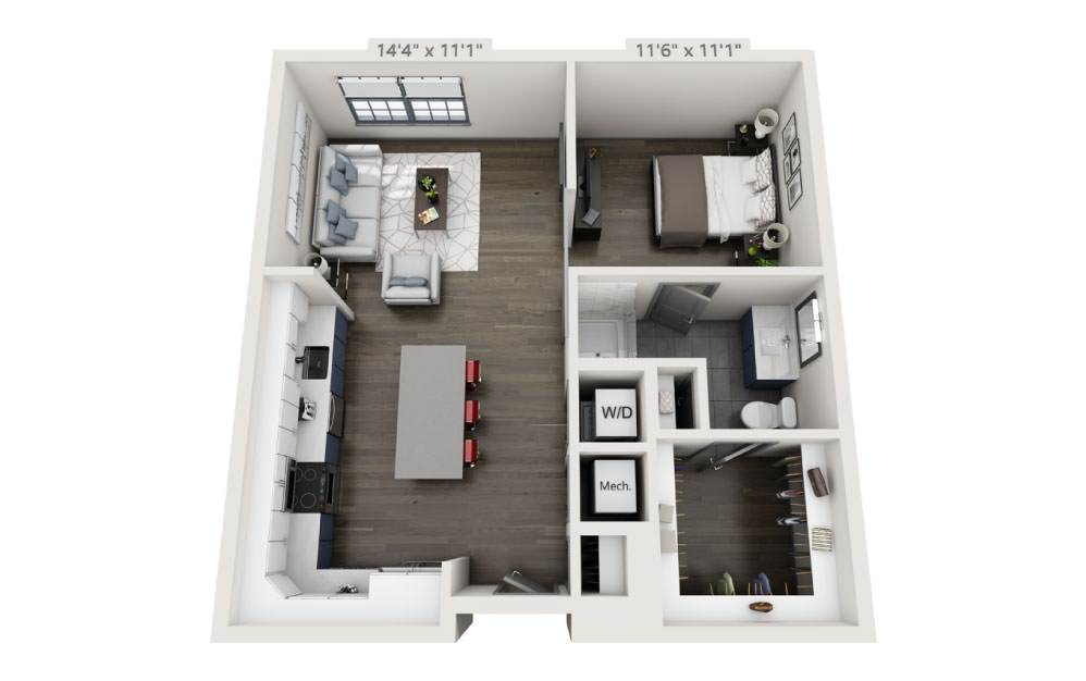 SF - Studio floorplan layout with 1 bath and 717 square feet.