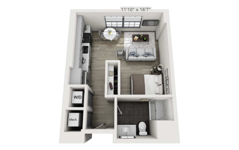SG - Studio floorplan layout with 1 bath and 477 square feet.