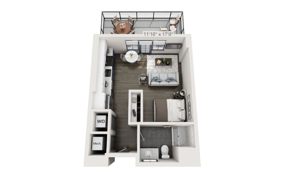 SG with Terrace - Studio floorplan layout with 1 bath and 477 square feet.