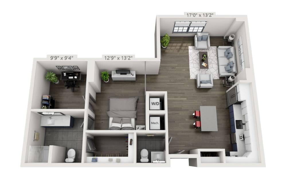 SH - Studio floorplan layout with 1 bath and 926 square feet.